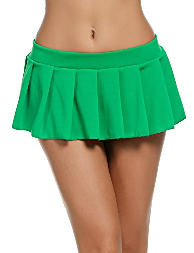 Für Olds Ein Kostüm Jahr - wearella Damen Sexy Plissierter Mikro-Minirock Dessous Rollenspiel-Kostüm Outfits Gr. 2-4 Jahre Old, grün