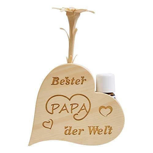 sagl.Tirol Set de parfums de pin en Forme de cœur avec pin sculpté à la Main et Huile de pin Bio 10 ML