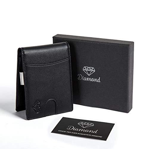 d455c42505 Portafoglio uomo DIAMOND piccolo con protezione RFID con Clip per contanti  Porta carte di credito, ...