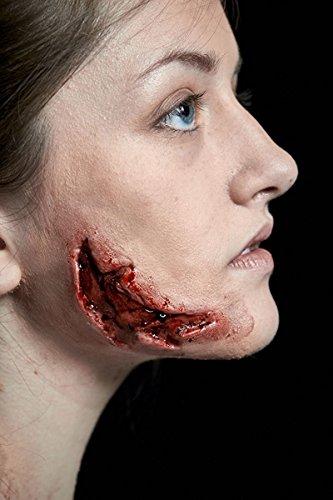 Meralens Latex Maske Körperteile Fasching Zombie Klaffende Wunde und Zombie Wange Topqualität zu Fasching