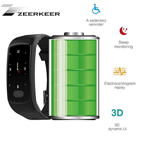 ZEERKEER Armband Uhr, Fitness trackers 0,96 Elektrokardiogramm PPG, Schrittzähler, Kalorienverbrauch SMS, Facebook Twitter Damen Heern (Schwarz)
