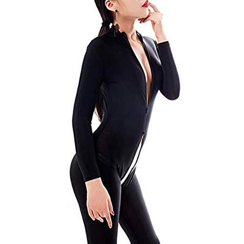 HNGPB Damen Einteiler Ganzkörperanzug Einteiler Body Body Body Body Body Sexy Front Reißverschluss Spandex Body Night Club Kostüm, a