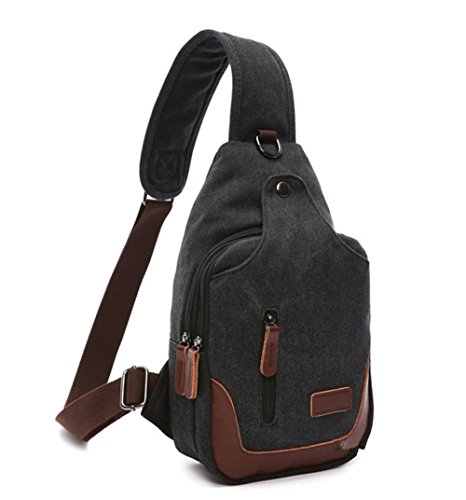 Herren Vintage-Mode casual Brust Tasche Black