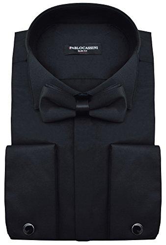 PABLO CASSINI Smokinghemd Slim Fit mit Manschettenknöpfe Fliege und Einstecktuch (3XL - Kragenweite: 47/48, Schwarz)