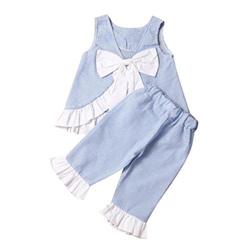 Fossen Verano Niñas Ropa Conjunto Bowknot Camisa Sin Mangas y Pantalones Cortos (Azul, 7 años)