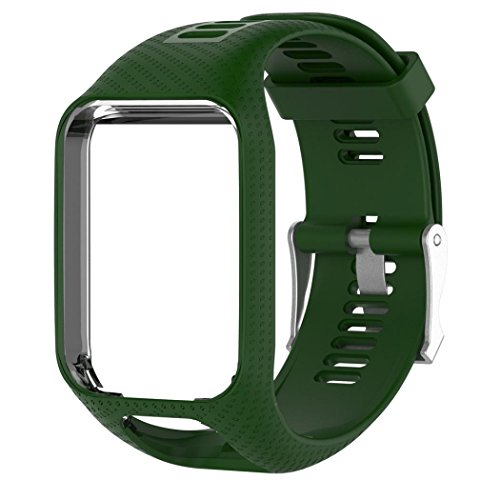 Ouneed Ersatz Silicagel Softband Strap Wechselarmband für TomTom Golfer 2 , Spark 3, Spark, Runner 3, Runner 2, Adventurer GPS-Uhren (Armeegrün)