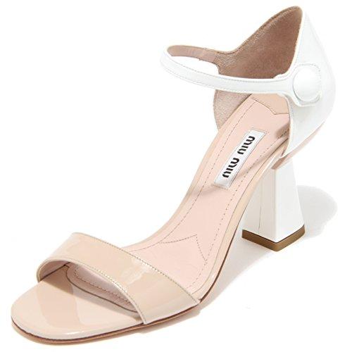 8165I MIU MIU sandalo beige/bianco donna pelle vernice sandals woman shoes [39]