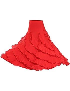 Dolity Traje de Baile Flamenco Baile Vals Vestido Largo Falda Larga Acesorios de Chicas