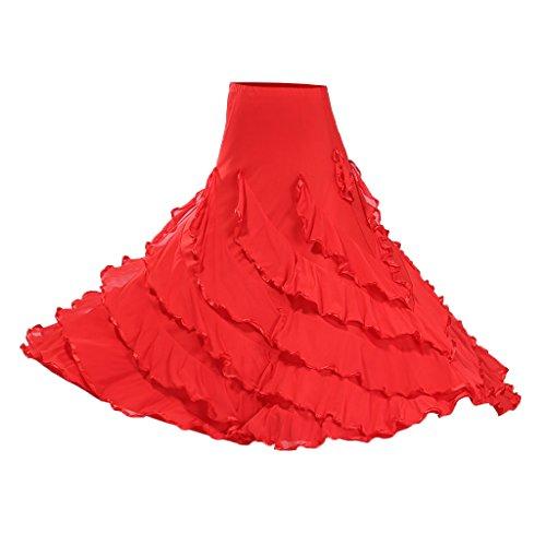 Große Schaukel Tanzkleider Tänzerin Bauchtanz Kostüm Faltenrock Latein Walzer Rock Maxirock - Stil 2 rot, wie beschrieben (Tanz Kostüme Ballsaal Latein)