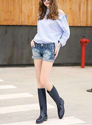 LaoZan Femme Bottes de Pluie à Tige Haute/Moyenne Chaussure Imperméable Bleu