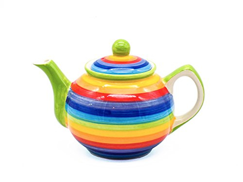 Windhorse Rainbow Striped Ceramic Teapot (Small)