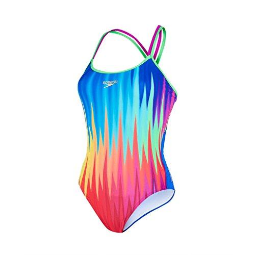 Speedo Damen Badeanzug Badeanzug, Badeanzug Rhythmrip Placement Double Crossback , Gr. 32 (Herstellergröße: 34), Navy/Psycho Red/Lime Punch (Ausdauer-schwimmen-slips)