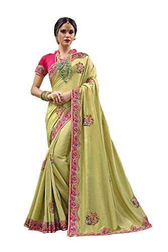 Indian Sarees for Women Designer Party Wear Traditional Olive Green Sari. Olive Green Silk Saree
