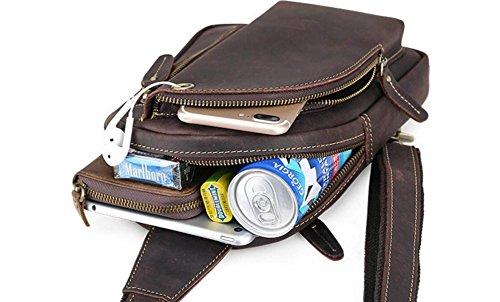 FZHLY Herren Persönlichkeit Freizeit Chest Tasche Leder Multifunktions-Schultertasche Messenger Bag,Brown Brown