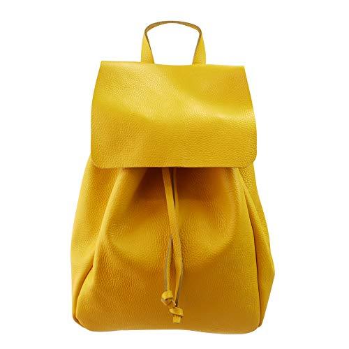 SH Leder Ital. Echtleder Damen Rucksack Leichter Tagesrucksack Daypack Lederrucksack Damenrucksack 26x36cm Birgit G2939 (Gelb)