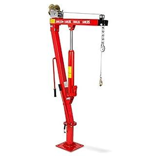 EBERTH 900kg Grue de levage hydraulique avec Treuil (Chaîne et un Crochet, 1900 mm Hauteur de levage, Bague rotative à 360°, Pliante)