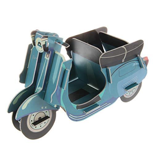 Blau Motorrad Bleistifthalter Multifunktion DIY Karton Desktop Schreibwaren Lager Container Schreibtisch Aufgeräumt Veranstalter Makeup Pinsel Halter von SamGreatWorld