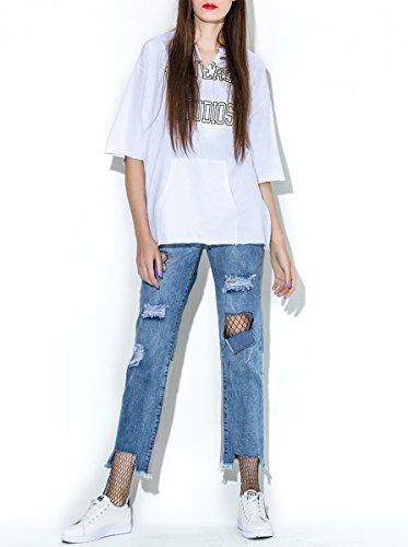 ELLAZHU Femme Été Col V Poche Impression T-Shirt SZ396 white