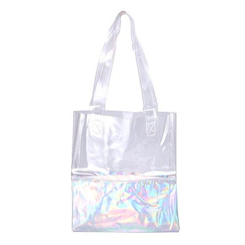 LUOEM Hologramm Umhängetasche Transparent Handtasche Einkaufstasche für Frauen (Silber)
