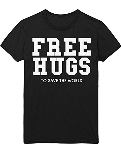 T-Shirt Free Hugs to Save The Word Peace Weltfrieden Hipster Patch Dalai Lama H970012 Schwarz XXL