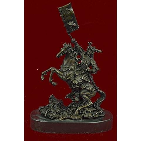 Statua di bronzo Scultura...Spedizione Gratuita...Viking Warrior holding