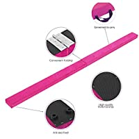 (Pink) - Vehipa Gymnastics Balance Beam,2.5m Wood Core Folding Floor Balance Beam with Anti-Slip Base,Foam Top and Carry Handles,Home Training Floor Beam