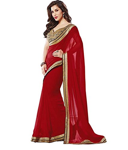 Sunshine Fashion Women's Georgette Saree With Blouse Piece (Sunsa837_Maroon)