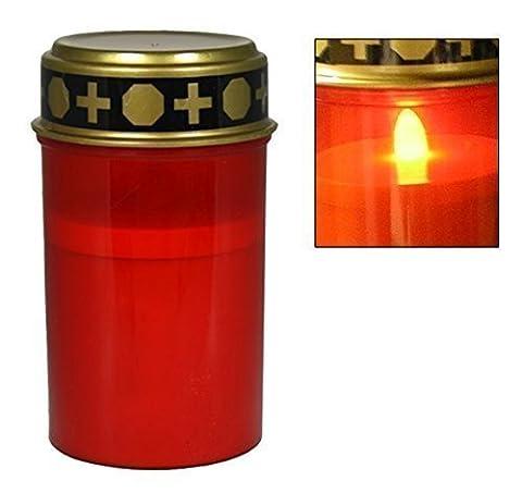 Grabkerze für Friedhof Grableuchte mit Beleuchtung LED Grablicht verschiedene Farben wind-und wetterfest, mit realistischem Flackern, Leuchtdauer bis zu 45 Tage (Rot)