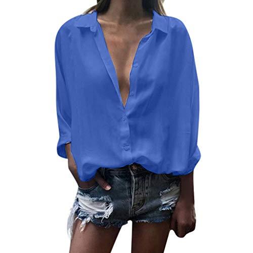kolila Damen Shirts Hemd Lässige Langarmshirts Oberteile Tiefem V-Ausschnitt Revers Button-Down Bluse Tops Tunika -