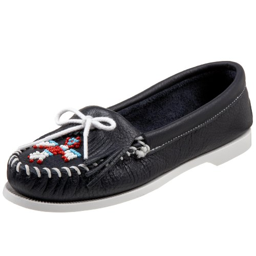 Minnetonka - Thunderbird Smooth Leather Boat Sole, Mocassino da donna Rosso (Graphit/graphit)