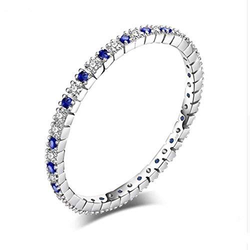 OLGN RING Verlobungsringe Exquisite Runde Blauer Spinell Ehering Ring 925 Sterling Silber Schmuck Neuester Damenring Ringgröße: 6