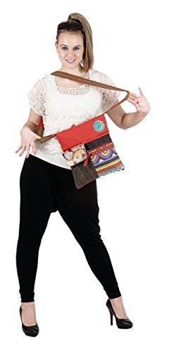 Sunsa Damen Umhängetasche Canvas Tasche 29x32 cm (rot braun) rot braun