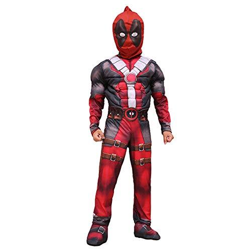 Deadpool Cosplay Deluxe Kostüm Halloween Kinder Anime Superman X-Men Hero Overall mit Maske für Partykleid,A-L(125-135 cm)