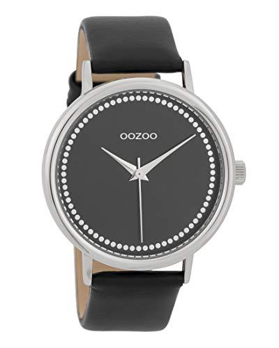 Oozoo Damenuhr mit Lederband 42 MM Schwarz/Schwarz C9709
