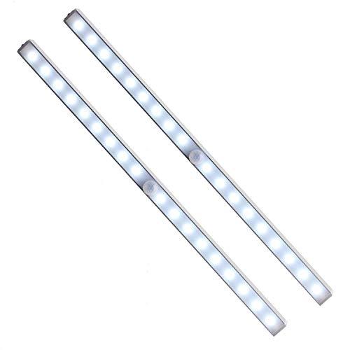 Unigear Luz Armario USB Recargable Lámpara Automático PIR Sensor De Movimiento Humano 18 LED 3 Modo Barra Iluminación Noctura Escalera Esquina Oscuro Cajón (Pack de 2)
