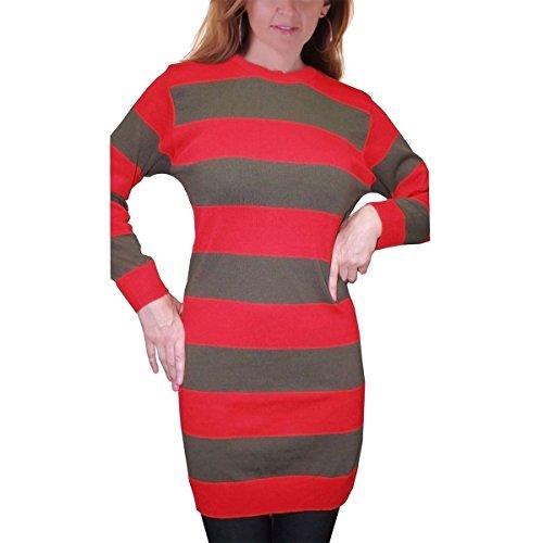 Women Red and Green Stripe Long Knitted Jumper Freddy Krueger Halloween Cardigan