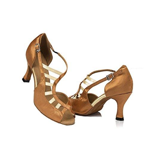 Minitoo à 3 cm-chaussures à talons pour femme en Satin pour Mariage Soirée danse-Chaussures Sandales-Latine Marron