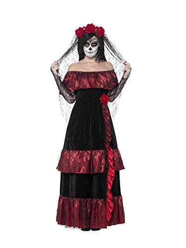 Smiffys, Damen Tag der Toten Braut Kostüm, Kleid und Rosenschleier, Größe: M, 43739