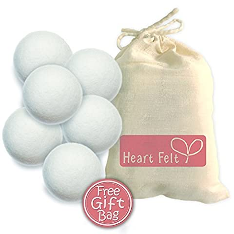 Wool Dryer Balls By Heart Felt Six Pack: 6 Extra-large Balls Made with Premium 100% Organic New Zealand Wool ~ Save Time and Money with This Eco-friendly Laundry Fabric Softener ~ 20% Coupon Code Below for Second Pack~ Eliminate Static ~ Perfect for Cloth Diapers or Baby Gift Set~ Use with Essential Oils Like