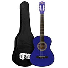 Mad About MA-CG02 Classical Guitar, 3/4 Size Blue Classic Guitar - Colourful Spanish Guitar with Carry Bag, Strap, Pick and Spare Strings