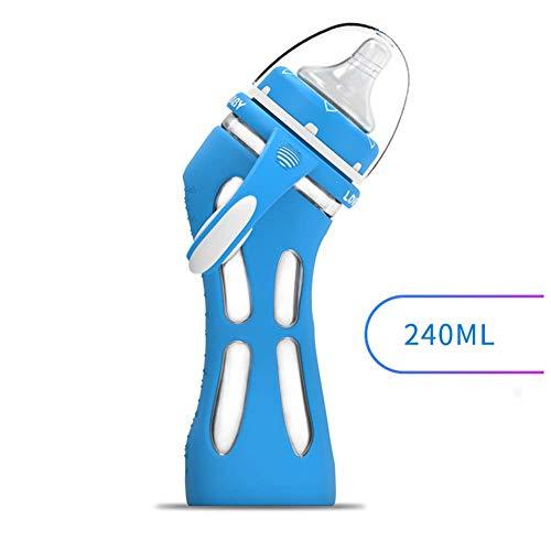 CASILE Glas Babyflasche - Anti-Kolik-System, 135° Geschwungenes Design Silikonhülle Anti-Fall,240ML,Blue -