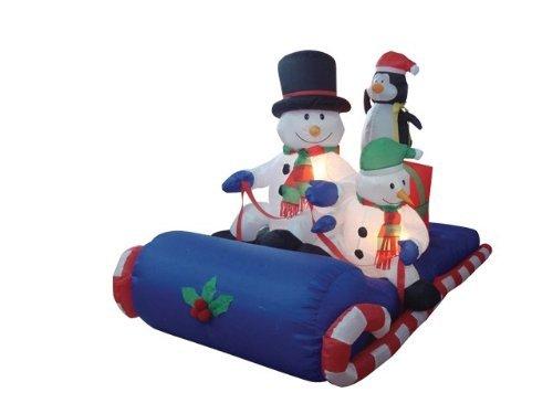 BZB Waren 1,8m lange Weihnachten aufblasbar Schneemänner auf Schlitten sitzend (Aufblasbare Schneemann Weihnachten)