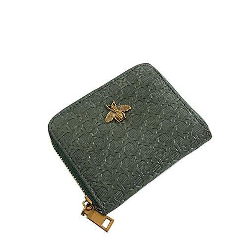 etbotu Frauen Geldbörse, weichem PU-Leder 2Fold, Classic Hand Rändelung Tasche Münzfach grün (Two Fold Leder Wallet)