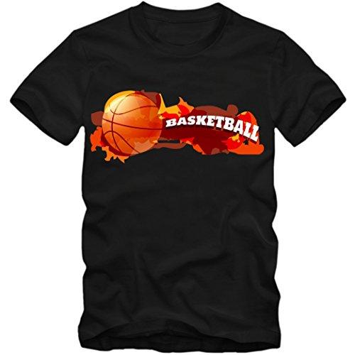 Basketball 03 T-Shirt |NBA | BBL |Streetball | Sportshirt © Shirt Happenz schwarz (deep black) 01