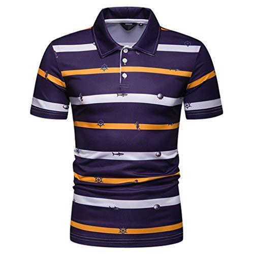 CICIYONER Polo Shirts Herren, Sommer Herren Mode Persönlichkeit Männer Casual Schlank Kurzarm Patchwork T-Shirt Top Bluse M L XL XXL -