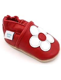 Dotty Fish Chaussures Cuir Souple bébé et Bambin. 0-6 Mois - 4-5 Ans.  Pantoufles pour Filles avec des Fleurs et des… 54d9976300c