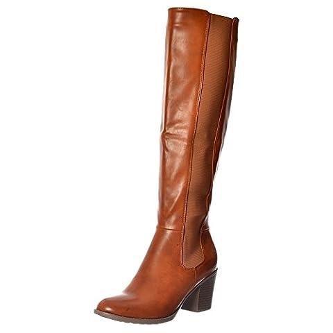 Onlineshoe Women's Elasticated Stretch Knee High Low Heel Winter Boot - Black, Tan UK5 - EU38 - US7 - AU6 Tan