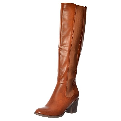 Onlineshoe Women's Elasticated Stretch Knee High Low Heel Winter Boot - Black,...