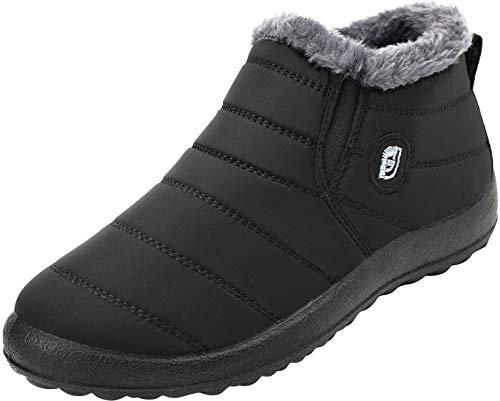 JOINFREE Unisex Erwachsene Winter Schneeschuhe Wildleder Flache Plattform Sneaker Wasserdicht Schwarz, 45 EU