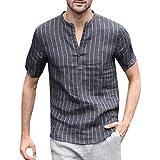 Maniche Corte t-Shirt da Uomo in Lino,Camicetta a Maniche Corte T-Shirt a Quadri,T-Shirt con Scollo a V a Righe